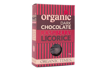 Organictimes dark chocolate raspberry licorice