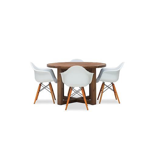 Silverwood 5 Piece Round Dining Suite with Eames Replica Chairs