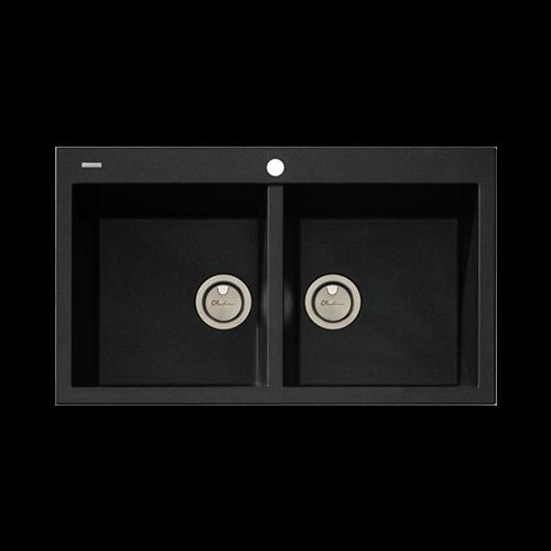 Oliveri Santorini Double Bowl Topmount Black Granite Sink