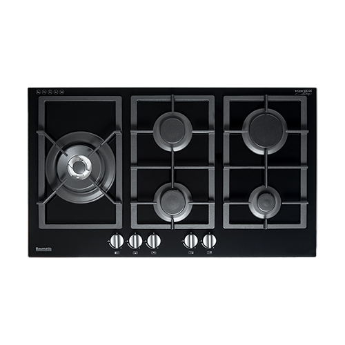 Baumatic 90cm Gas Cooktop Black