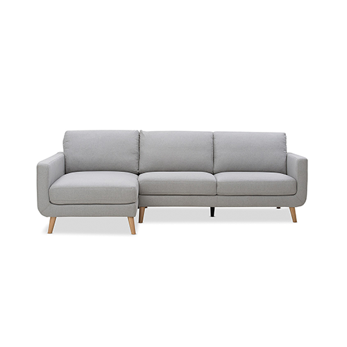 Phoebe Fabric 3 Seater Chaise Light Grey / Blue