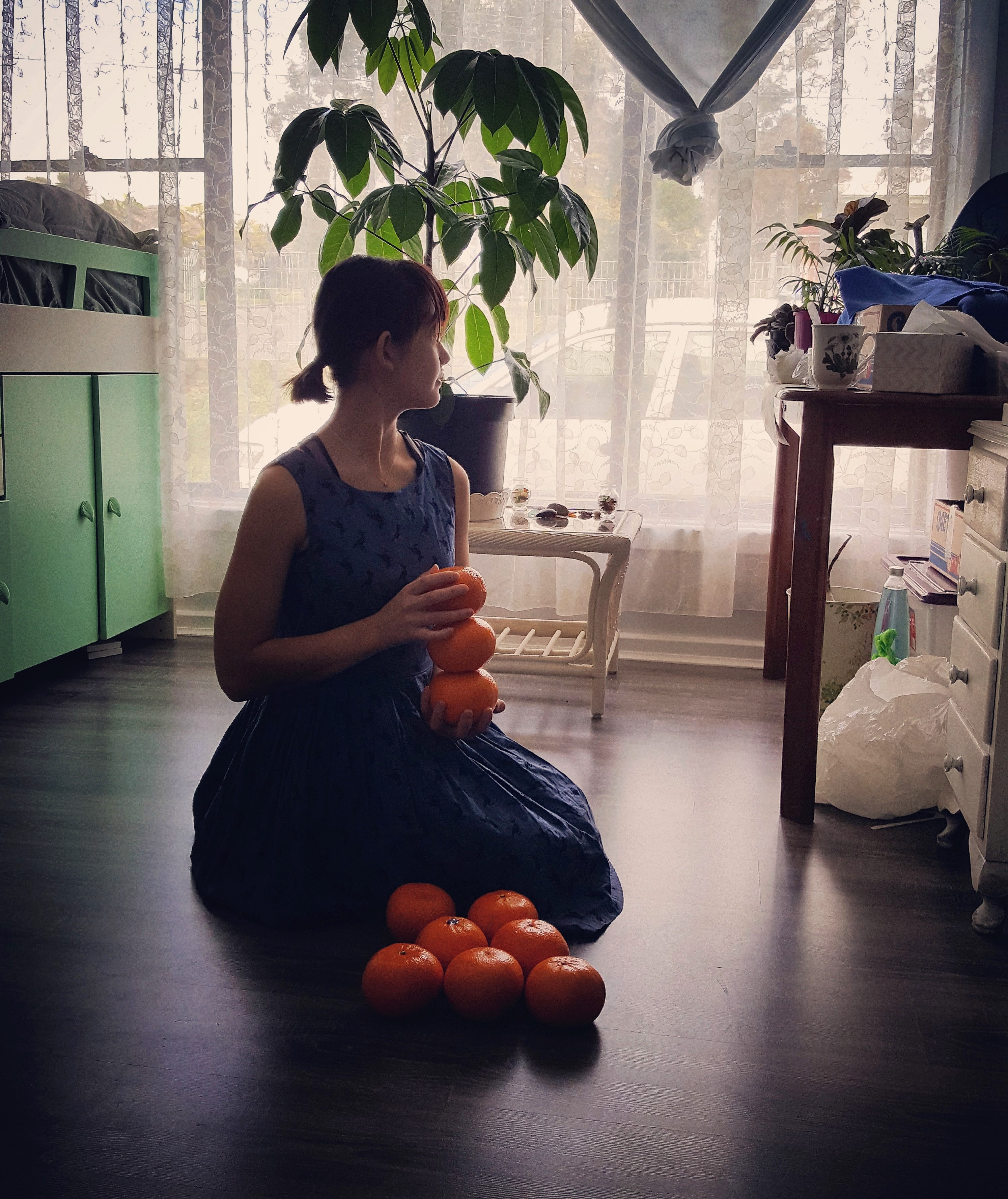 Girl with Oranges (Ecosystems of Domestic Suburbia Series)