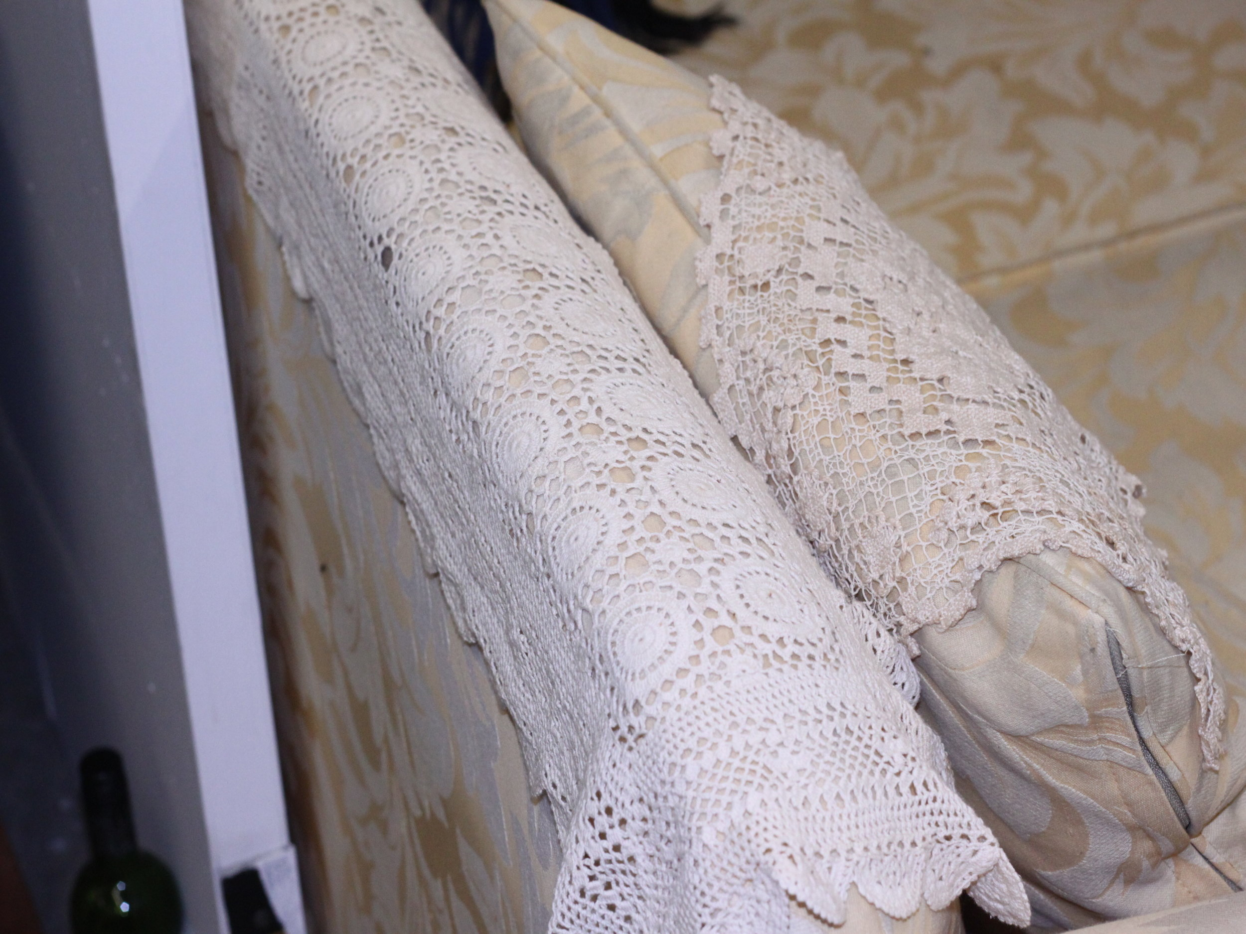 Free Gumtree Couch with Vintage Lace Doilies