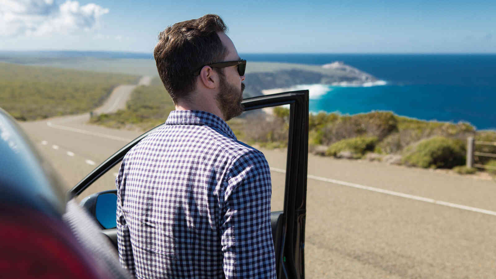 Self Drive Man With Car Looking At Coastline 1920X1200