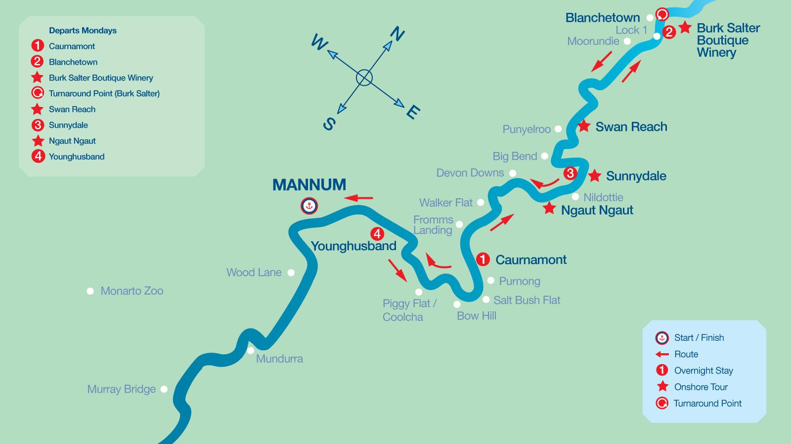 Map of 4 Night Cruise Itinerary