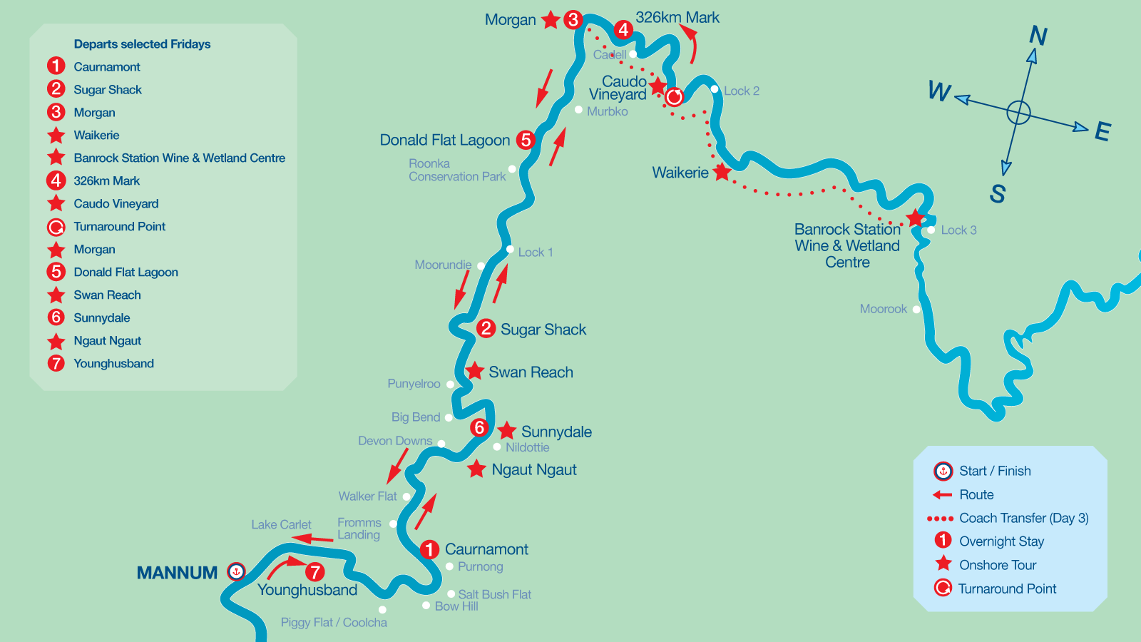 Map of 7 Night Upper Murraylands Itinerary