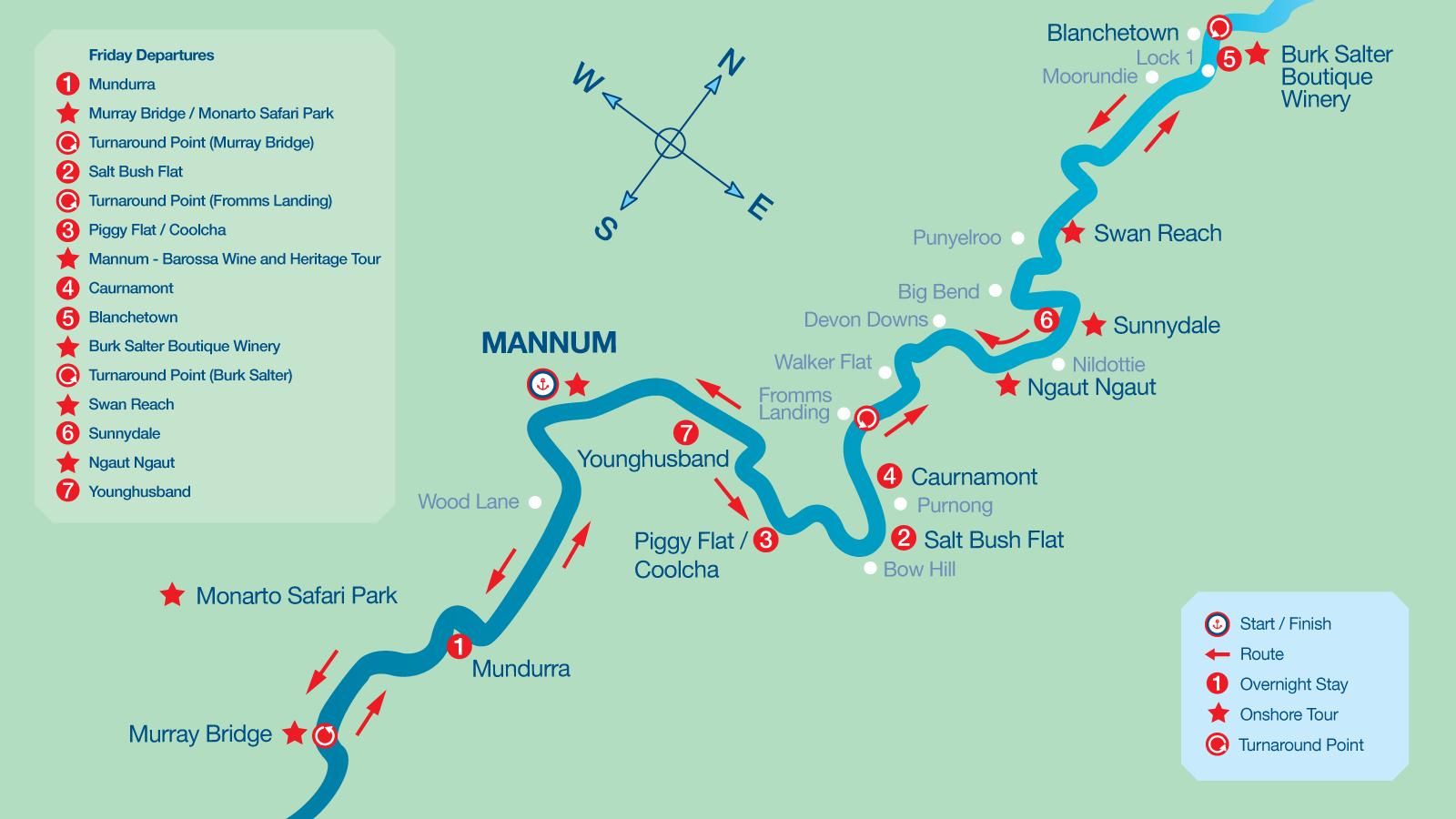 Map of 7 Night Cruise Itinerary