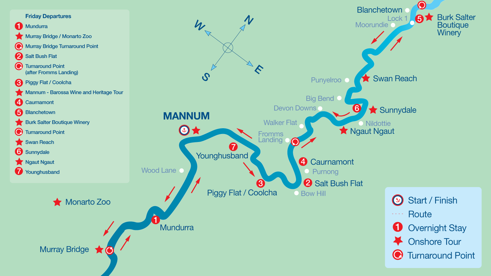 Map of 7 Night Cruise Itinerary