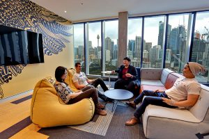 international student social lounge featuring Mulga print