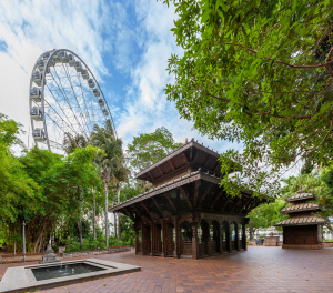 Nepalese Peace Pagoda at southbank park and observation wheel in Brisbane, Australia