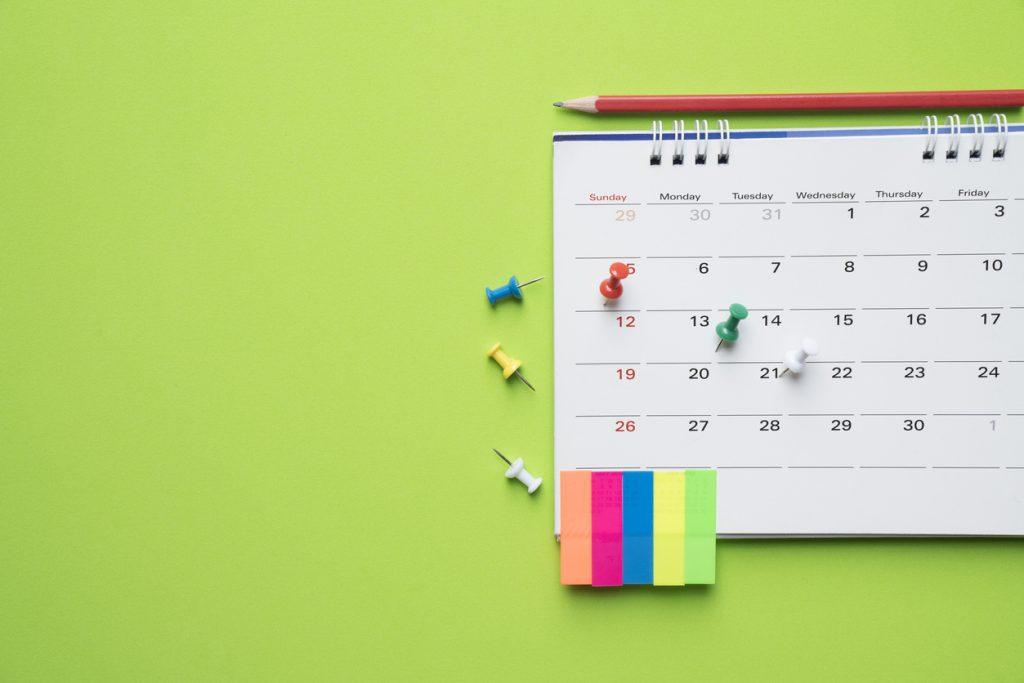 Green calendar create a study plan
