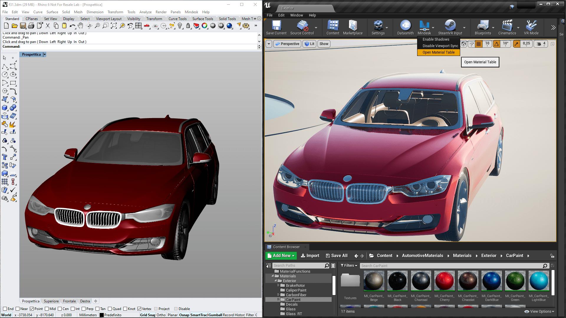vection mindesk live link cad rendering 3d real-time
