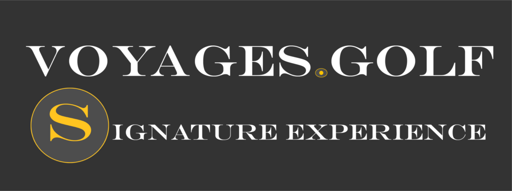Voyages.golf signature experience logo on dark background