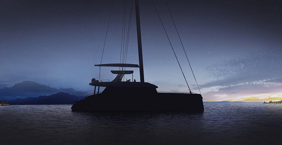 sunreef 60 sailing at night