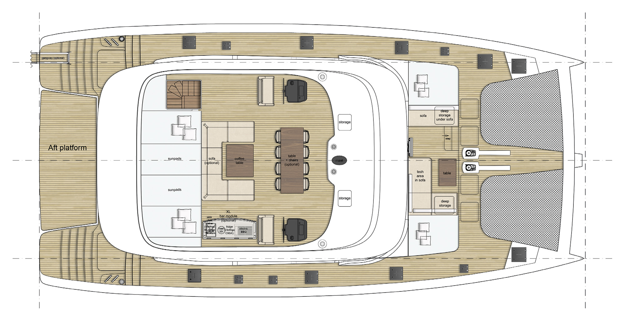 layout sunreef 70 sailing