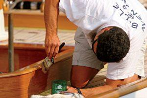 varnishing yacht