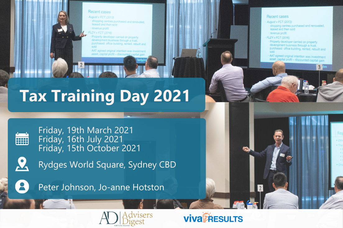 Tax Training Day 2021, presented by Peter Johnson & Jo-anne Hotston