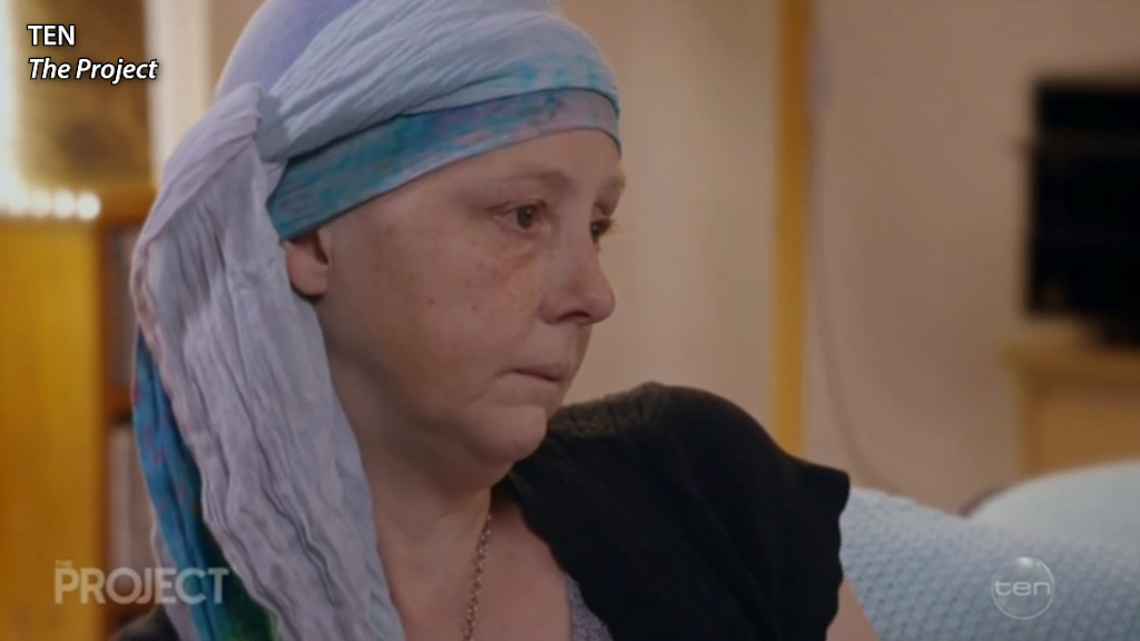 Connie Johnson breaks down as cancer treatment ends