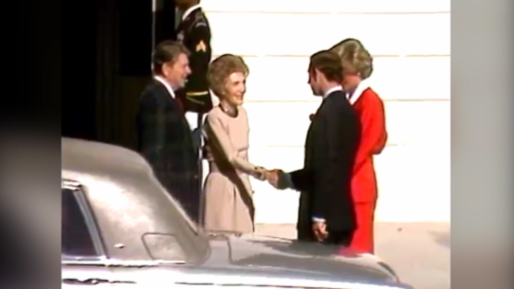1985: Prince Charles and Princess Diana visit White House