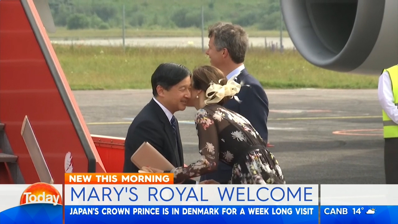 Princess Mary greets HIH Crown Prince Naruhito of Japan at Copenhagen Airport