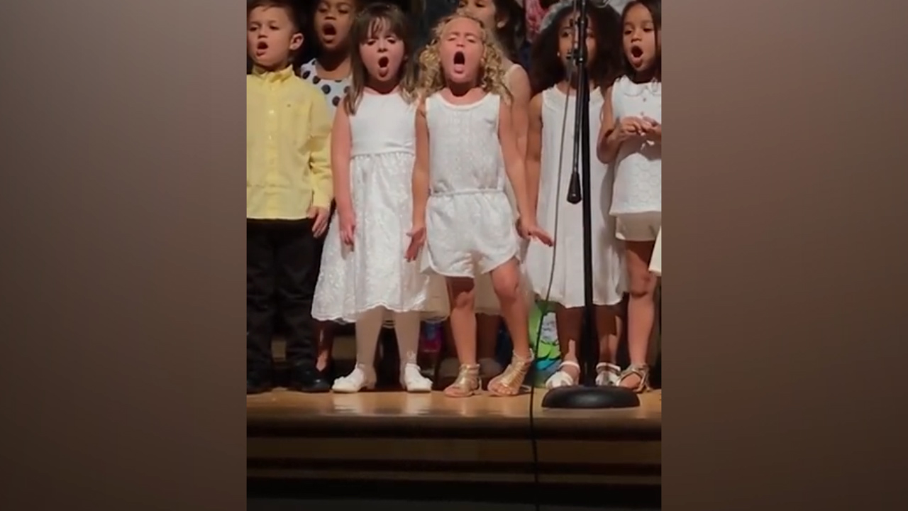 Four-year-old slays her elementary school graduation performance
