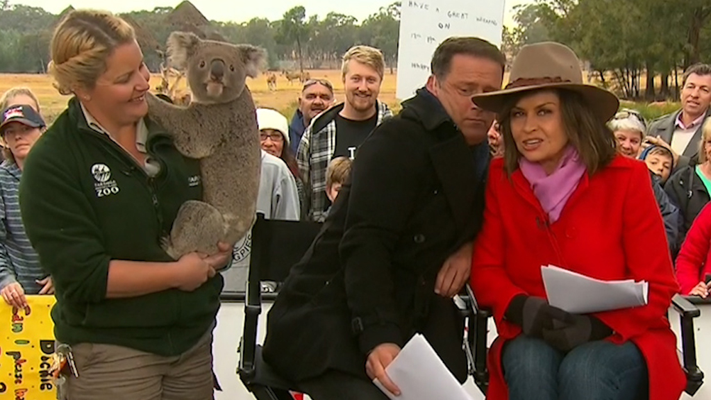 Karl Stefanovic cowers behind Lisa Wilkinson