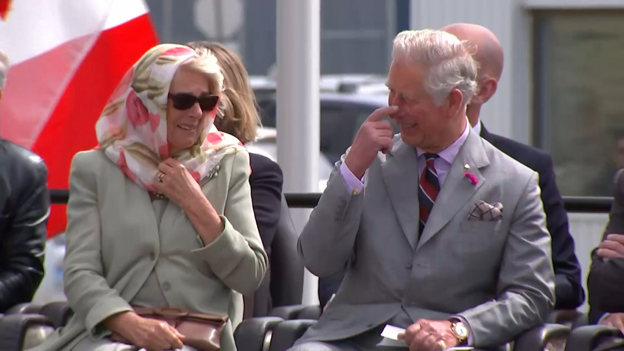 Charles and Camilla lose it during traditional Canadian performance
