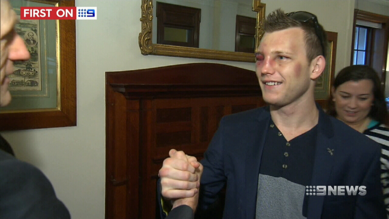 Jeff Horn catches up with family after becoming world champion