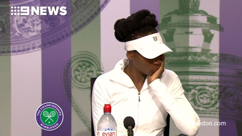 Venus Williams breaks down, in Wimbledon post-match conference, over fatal crash