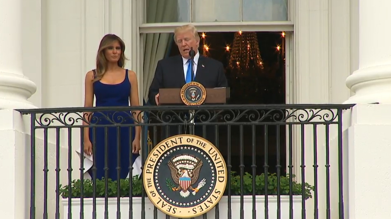 Donald Trump welcomes military families to the White House for Independence Day