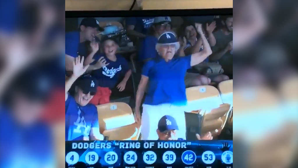 Dancing grandma flashes baseball crowd