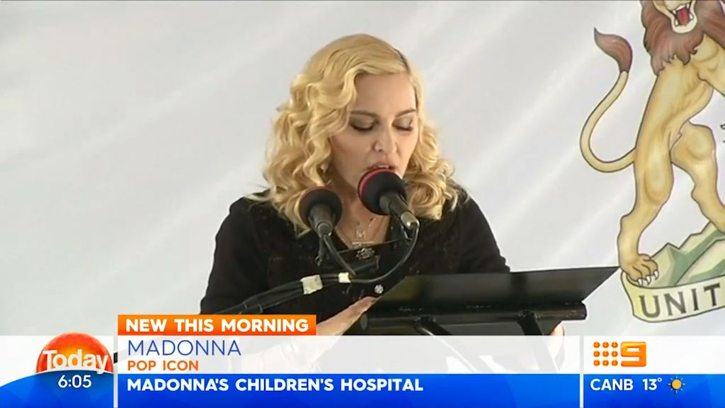 Madonna opens children's hospital in honour of daughter.