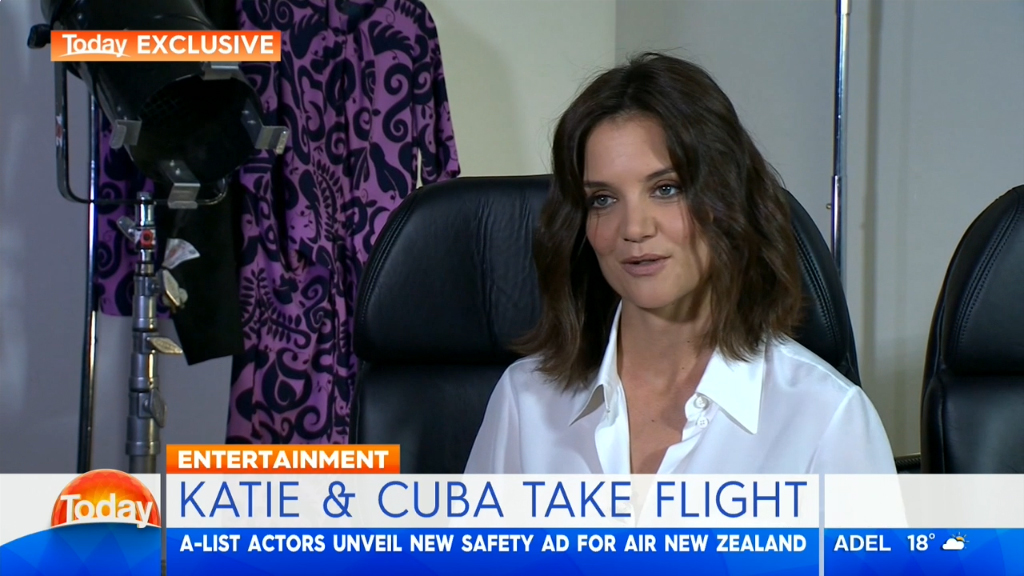 Katie Holmes and Cuba Gooding Jr speak about air safety video