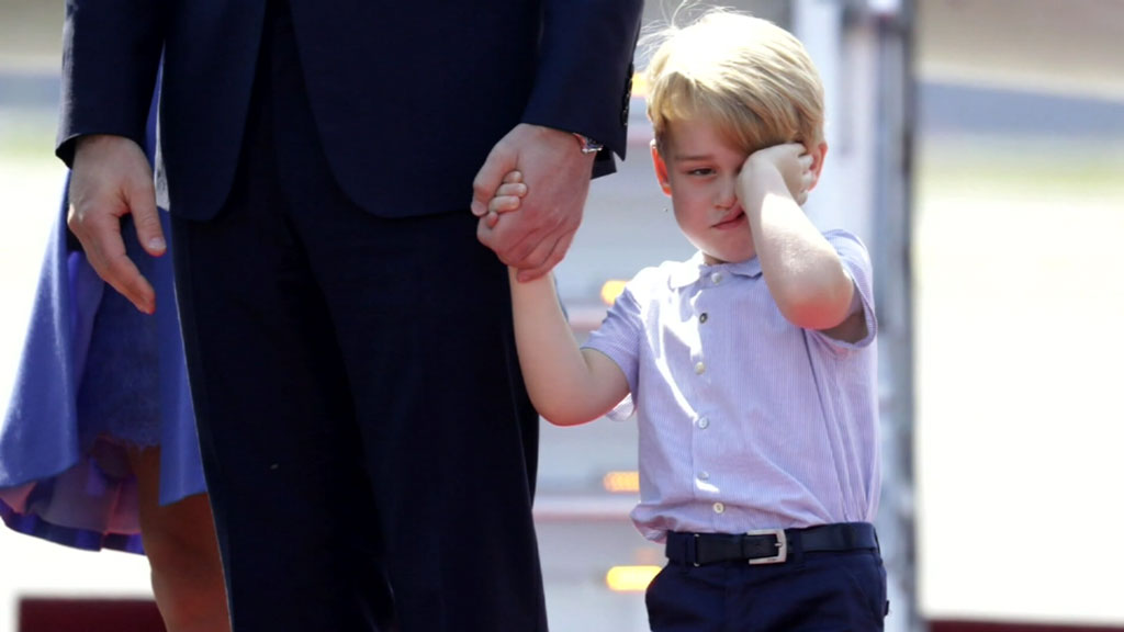 Prince George looks a little sleepy on Berlin arrival