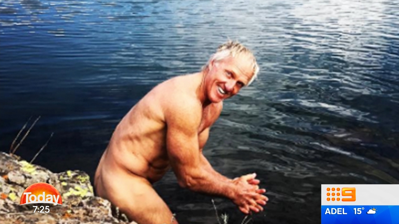 Greg Norman washes off in the Colorado wilderness.
