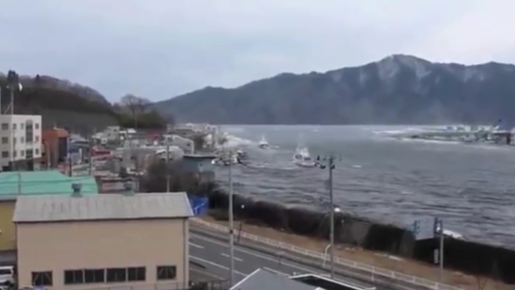 Tsunami hits Miyako Harbor