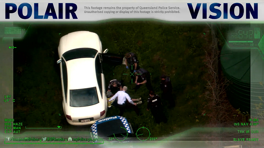 Dramatic arrest of wanted man captured from police helicopter