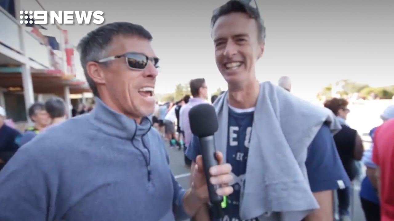 Cycling champion Phil Anderson jokes around with Cycling Australia CEO