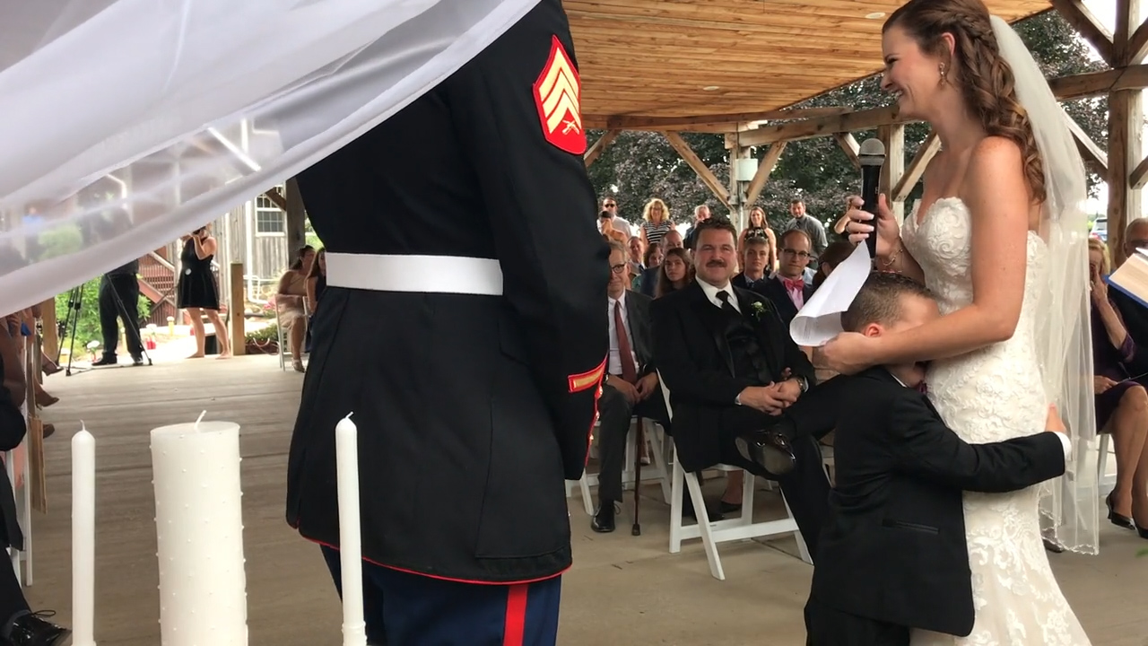 Boy cries at wedding when stepmum shares special vows for him