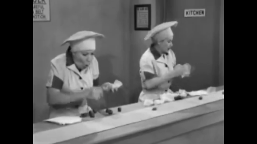 I Love Lucy's famous chocolate scene
