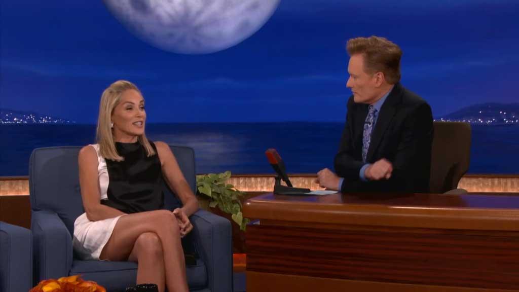 Sharon Stone recreates her famous Basic Instinct leg cross