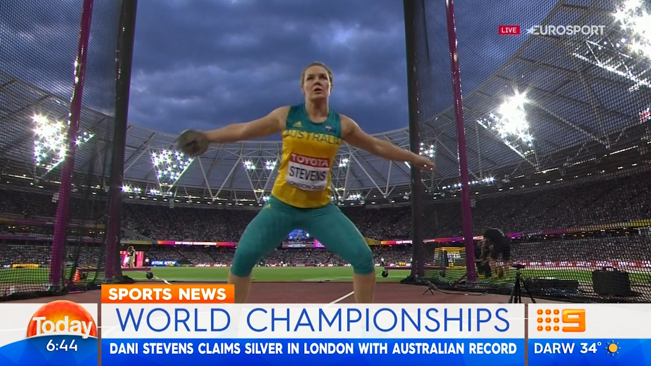 Stevens smashes Aussie discus record but still finishes second
