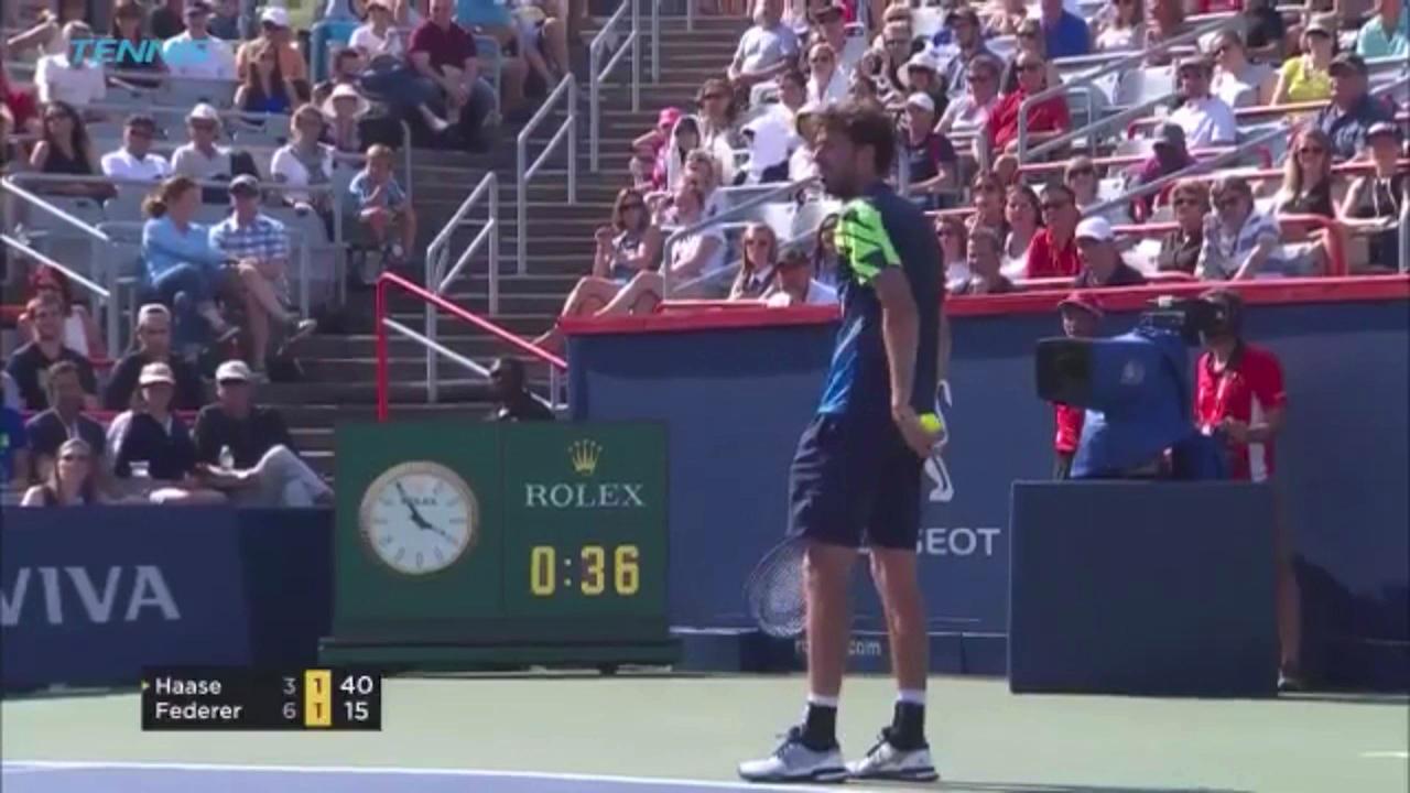 Haase cracks up pro-Federer crowd