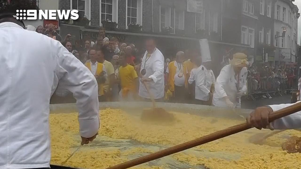 Belgian town cooks up giant omelette