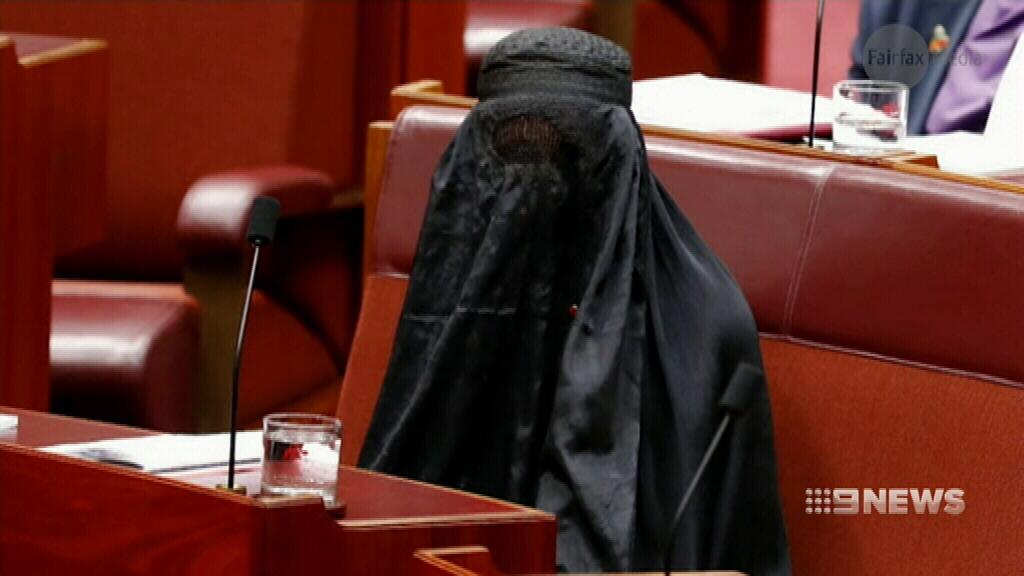 Pauline Hanson condemned for wearing burqa into the Senate