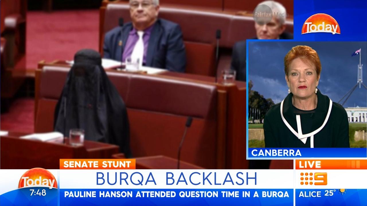 Pauline Hanson defends wearing burqa in Parliament