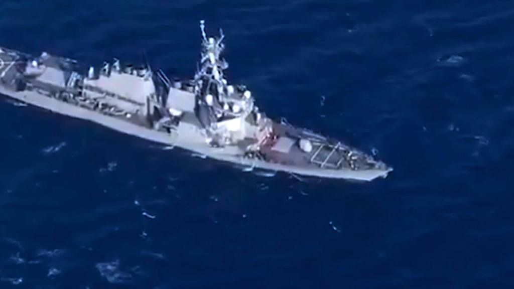 American Navy destroyer damaged after collision with ship