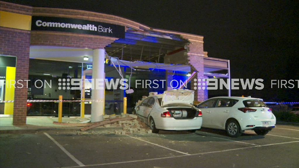 Driver crashes into Melbourne bank
