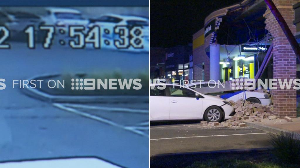 Bank collapses as car crashes into pillar