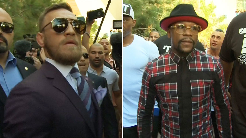 Floyd Mayweather and Conor McGregor make appearance ahead of fight